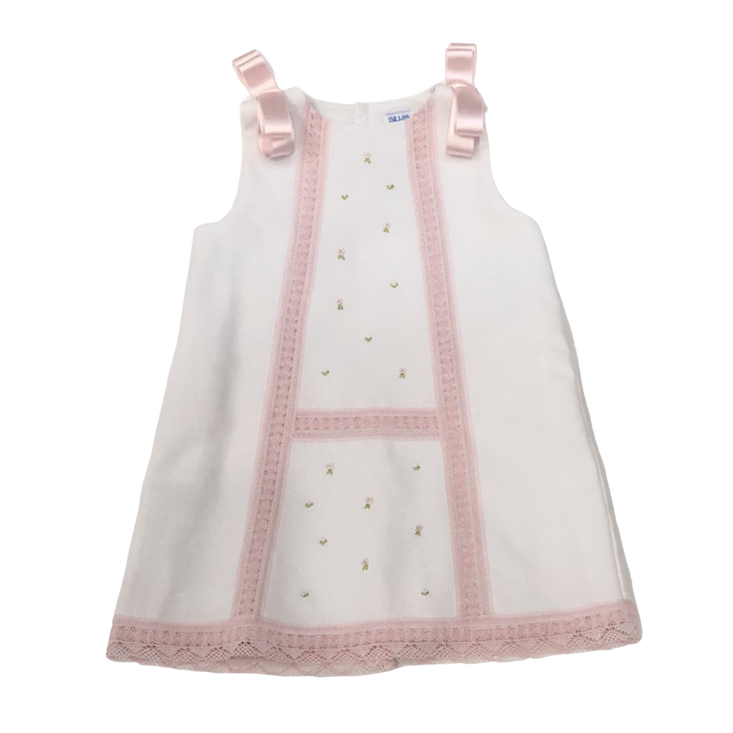 White Paque Dress With Pink Lace Detail and Rosebuds
