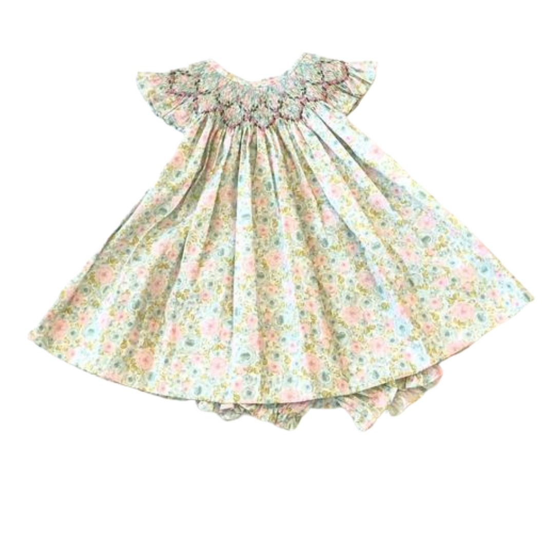ML Pastel Floral Smocked Angel Wing Bishop With Bloomers