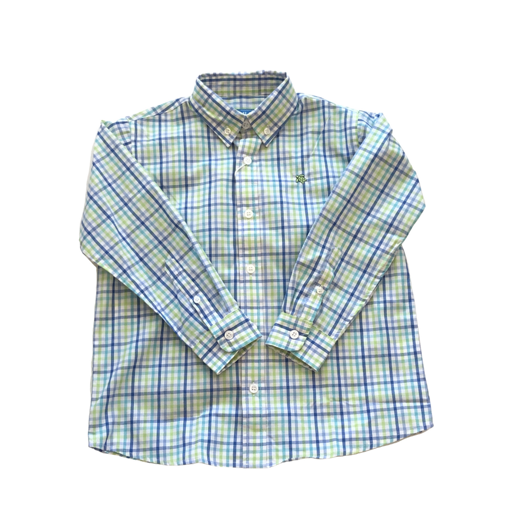 BB Lime Green, Blue, and Turquoise Plaid Button Down