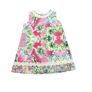 BB Tropical Hot Pink and Lime Green Shift Dress