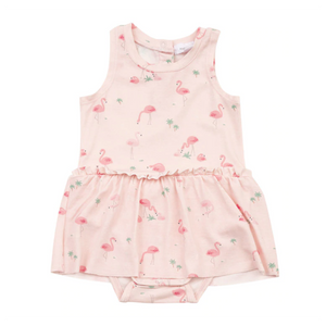 Flamingo Print Dress with Bloomers