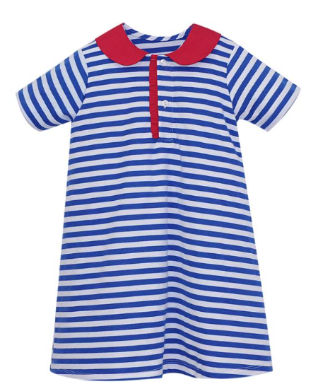 LS Knit Blue Stripe Dress with Red Collar Detail