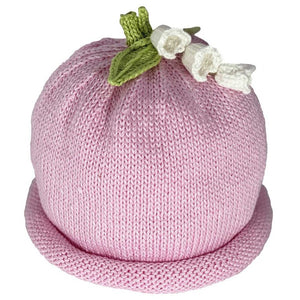 MH White Lily Flowers on Pink Knit Hat
