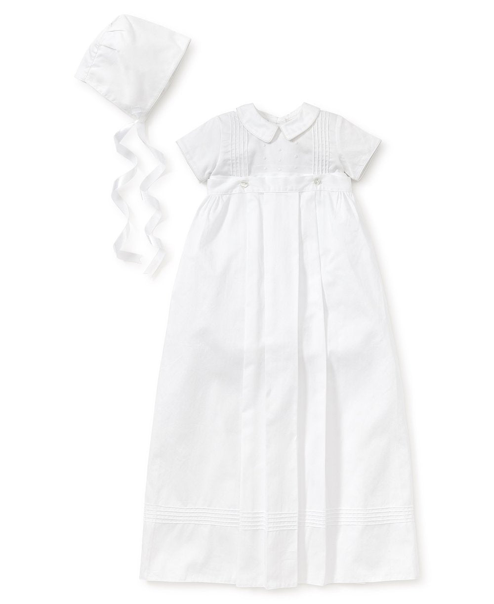 KK 3 PC Boy White Button Off Gown/Bubble