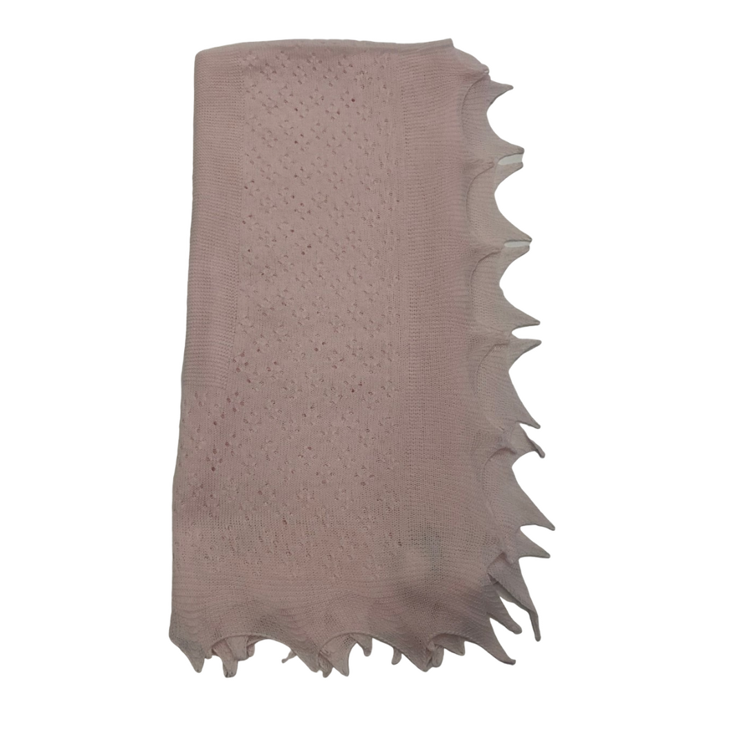 SL Pink Light Weight Knit Blanket Pointed Trim
