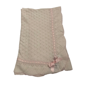 SL White Blanket With Pink Ribbon