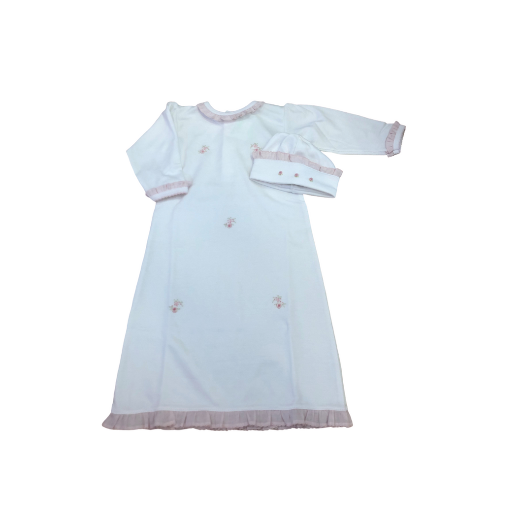 BT White Gown with Rosebud Embroidery and Pink Ruffle Trim