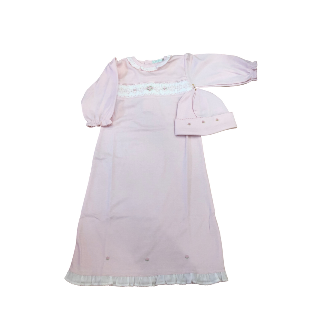 BT Pink Gown with Rosebud Argyle Smock
