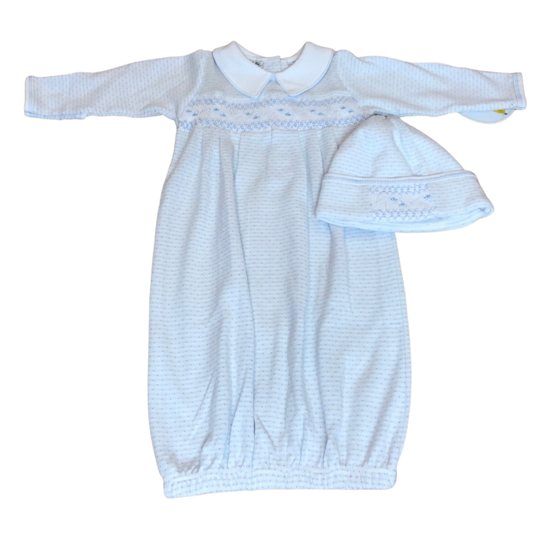 MB 2PC Smocked Blue Gown
