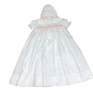DEL 2PC Smocked Roses Day Gown w/ Bonnet