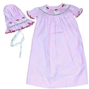 DEL 2PC Pink Gingham Smocked Santa Gown w/ Bonnet