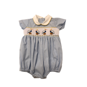 LZM Blue Check Pelican Smocked Bubble with Collar