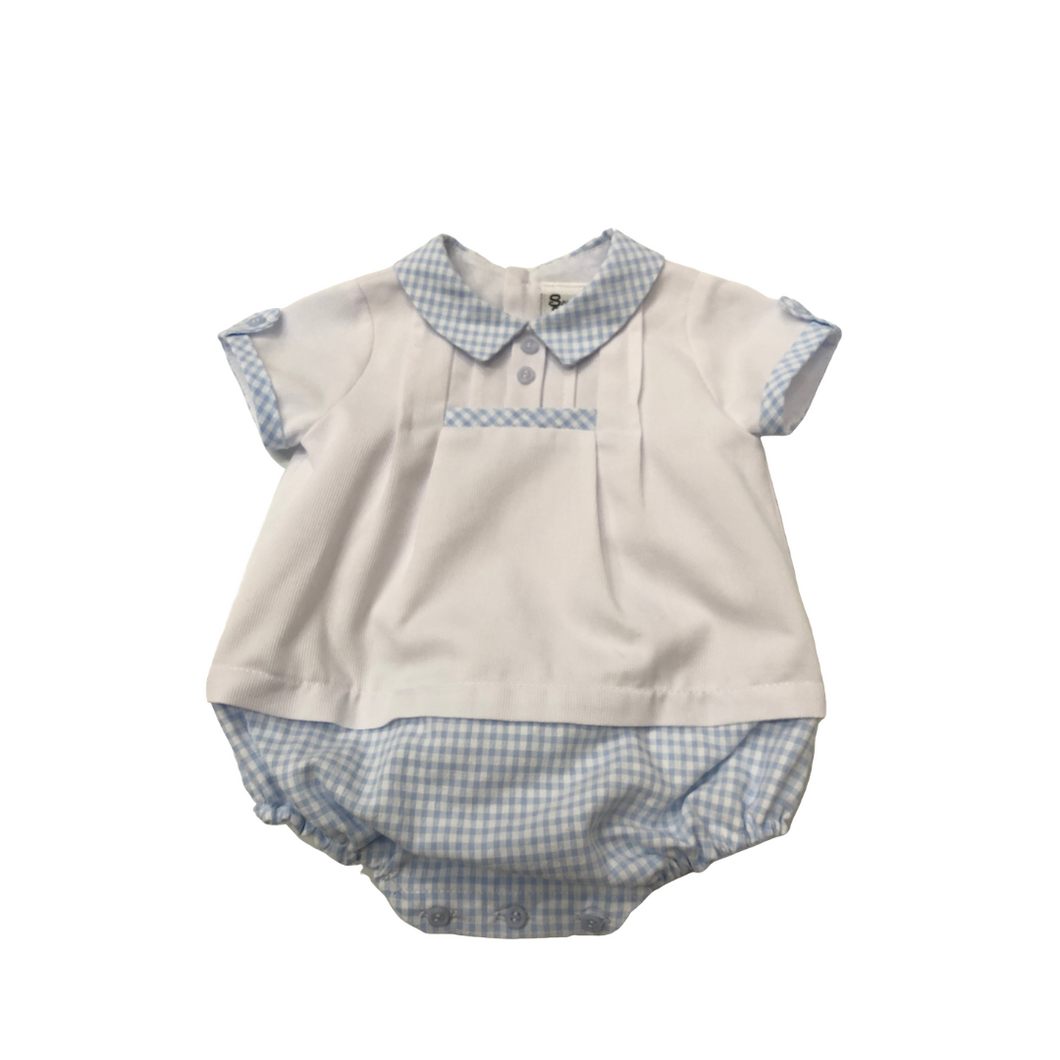 SL Bubble with Blue Gingham Collar and Bottom