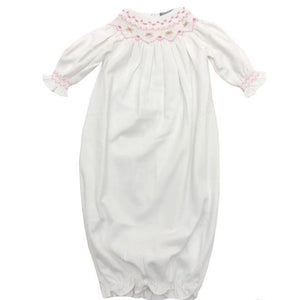 BabyB White and Pink Smocked Pima Bishop Gown
