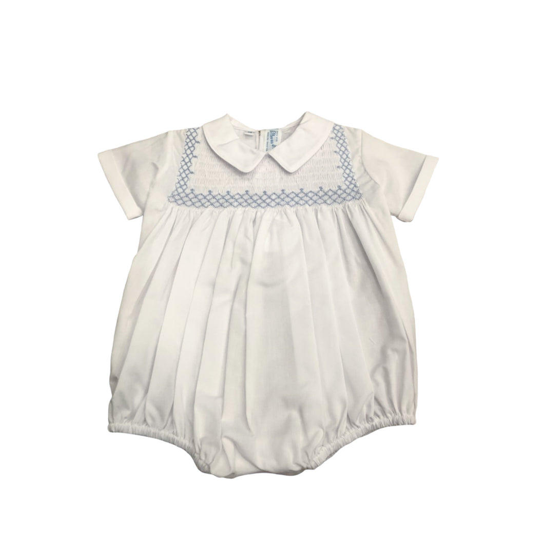 FB White Bubble with Blue Smocking
