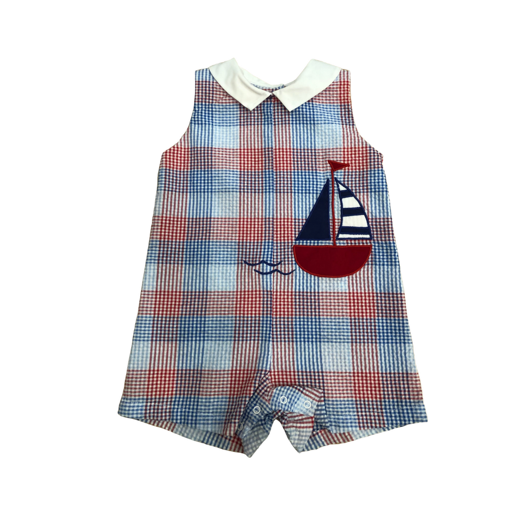 PA Red and Blue Plaid Sailboat