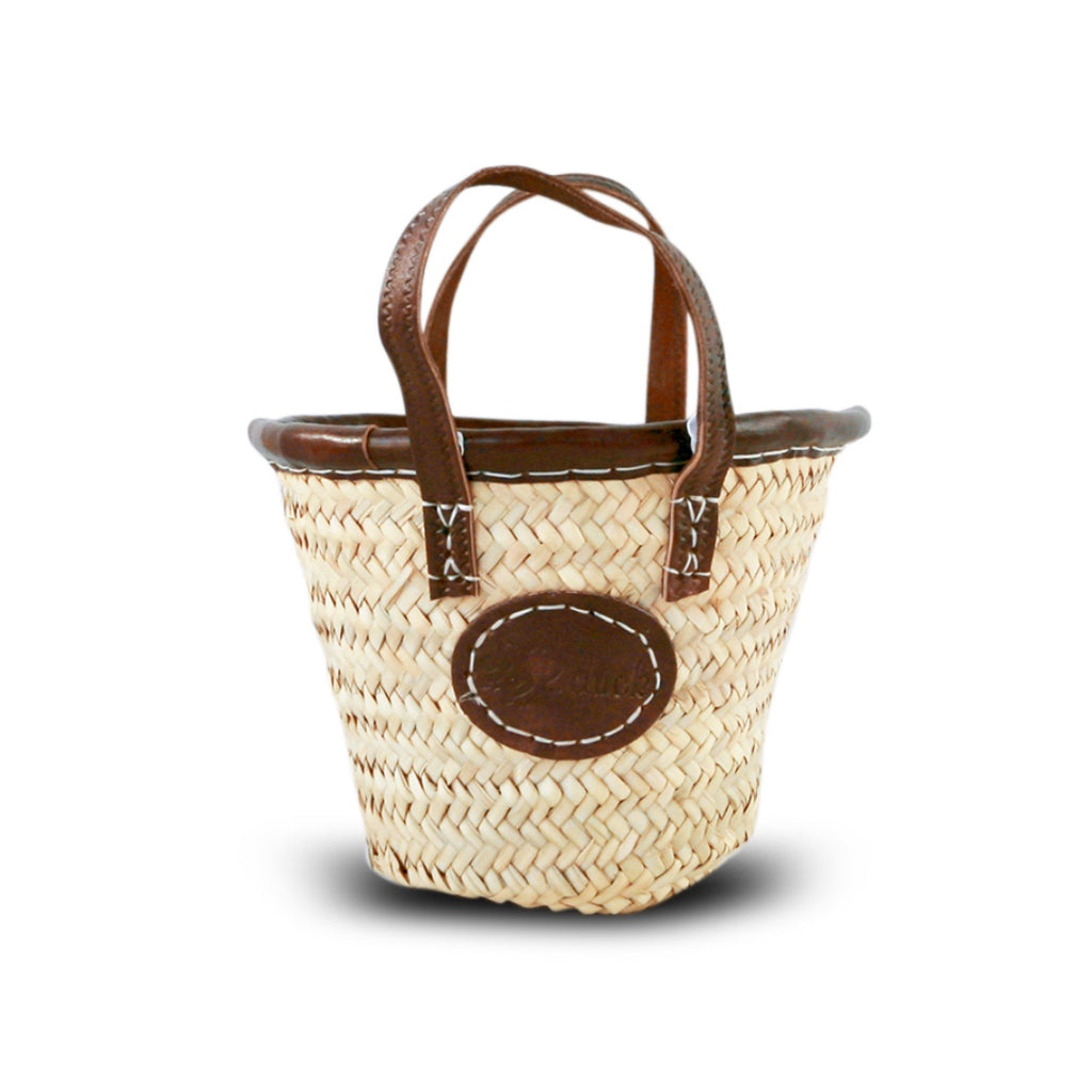 Baby Basket with Leather Trim