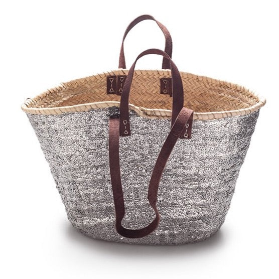 Classic Basket covered in Coloured Sequins