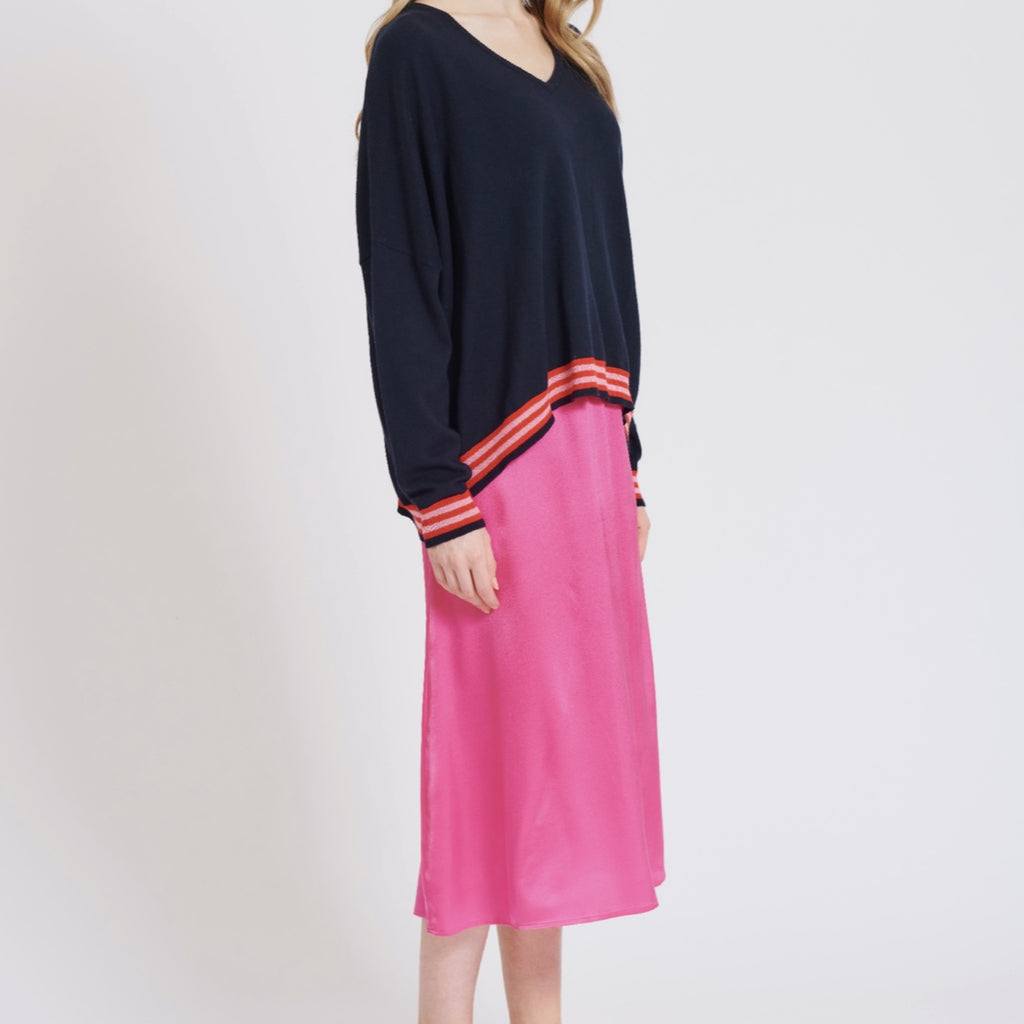 Midi Bias Skirt in Flamingo