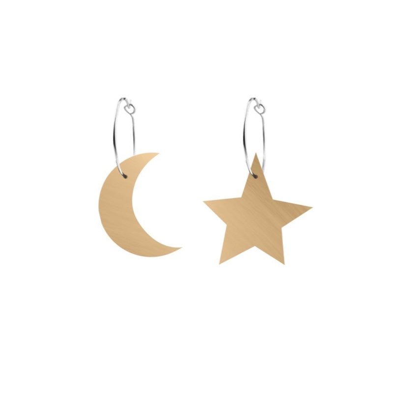 Stars and Moons Hoop Earrings