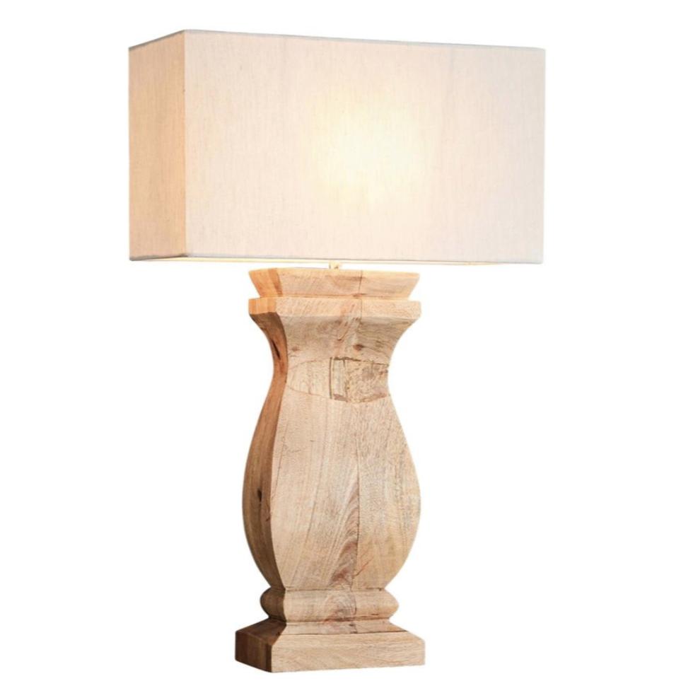 George Natural Rectangular Wood Ballister Table Lamp