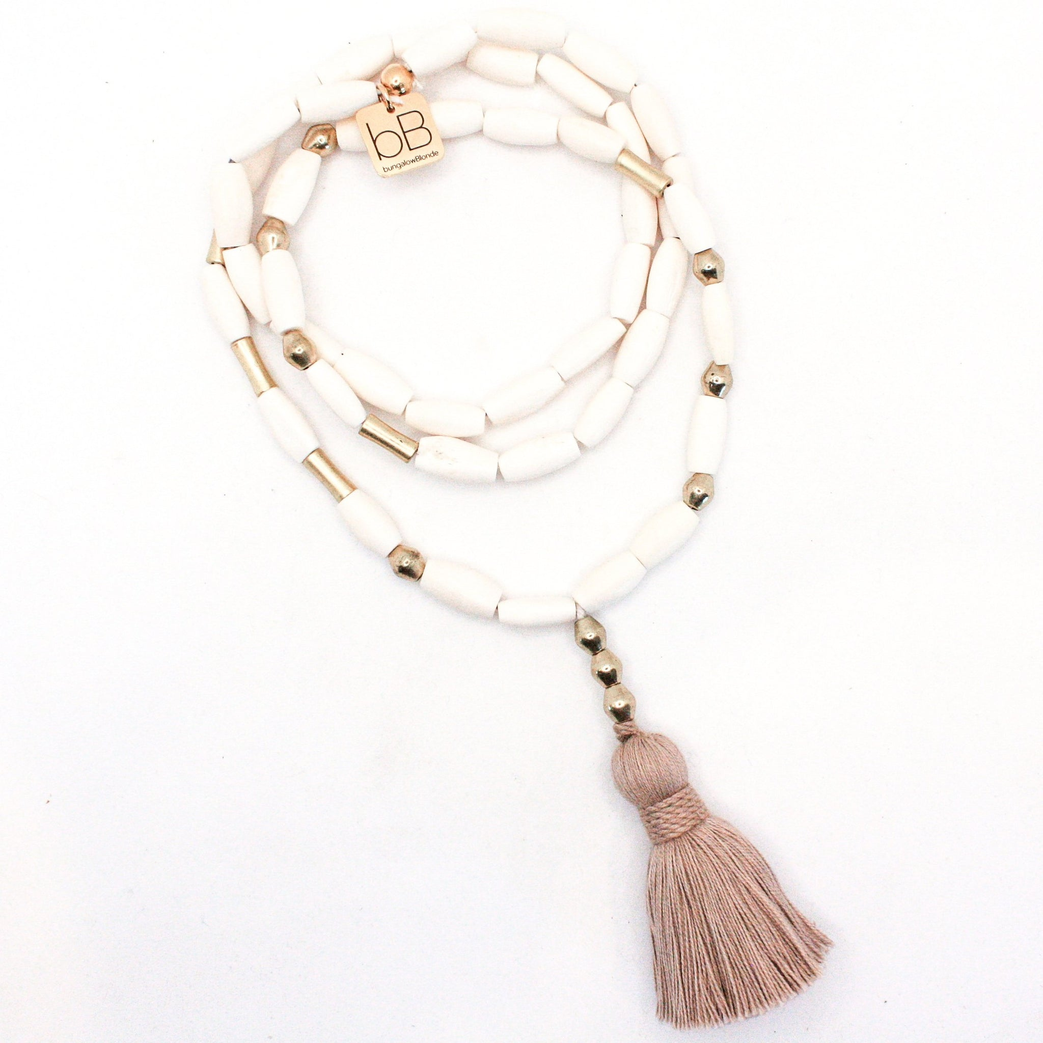 bBJ Morse Code Tassel Necklace
