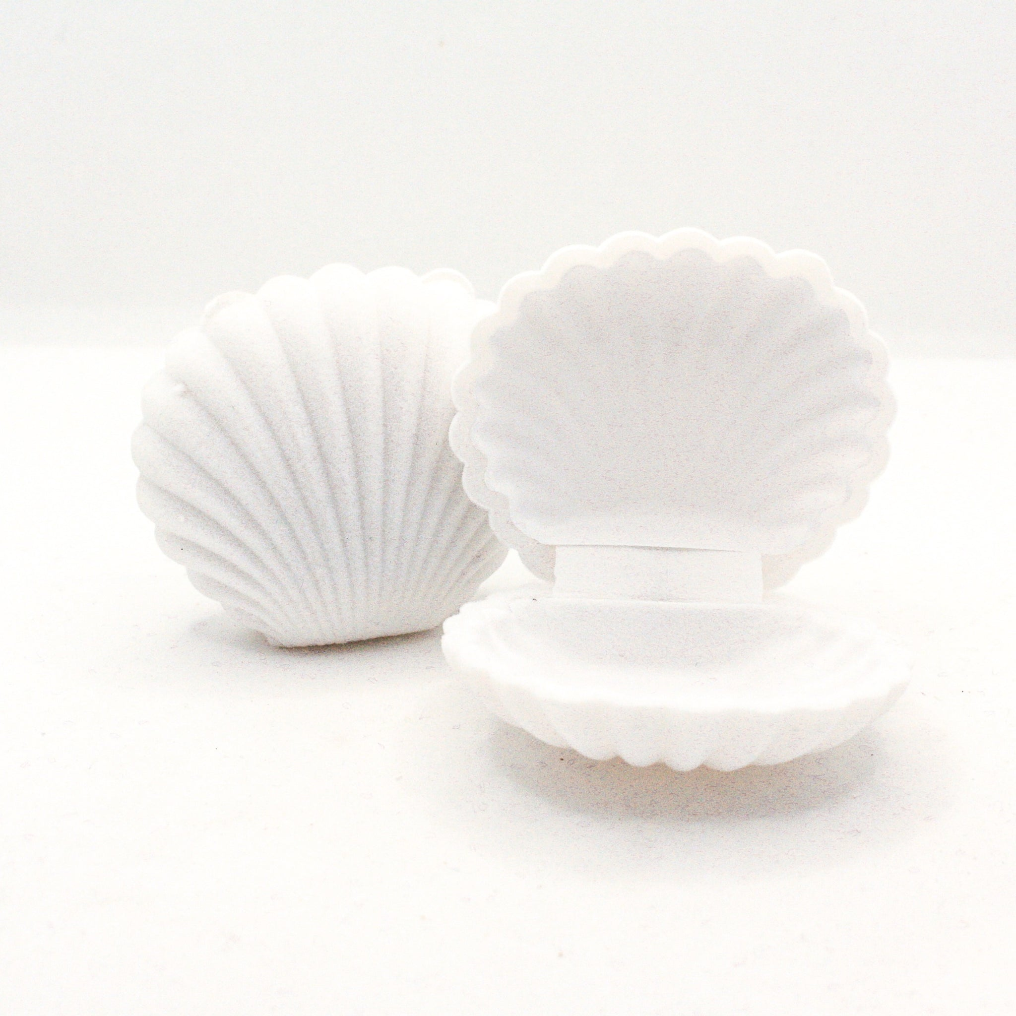 Velveted Mini Sea Shell Jewelry Box : Grey