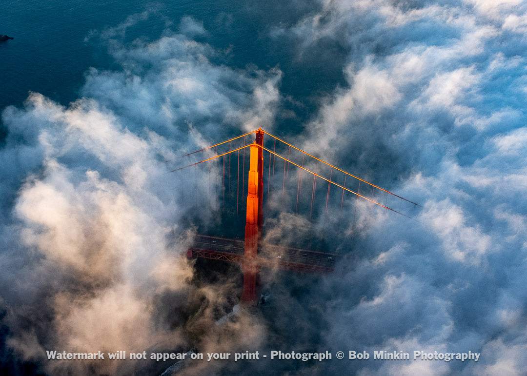 Golden Gate Bridge Tower Peeking Out of the Fog