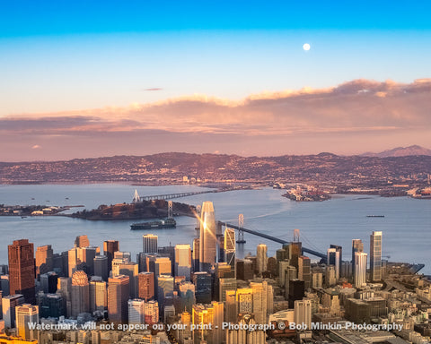 Sunset sparkle and moonrise over the San Francisco Bay Area