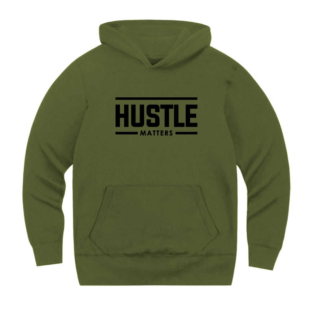 Hustle Matters® Military Green Hooded Sweatshirt