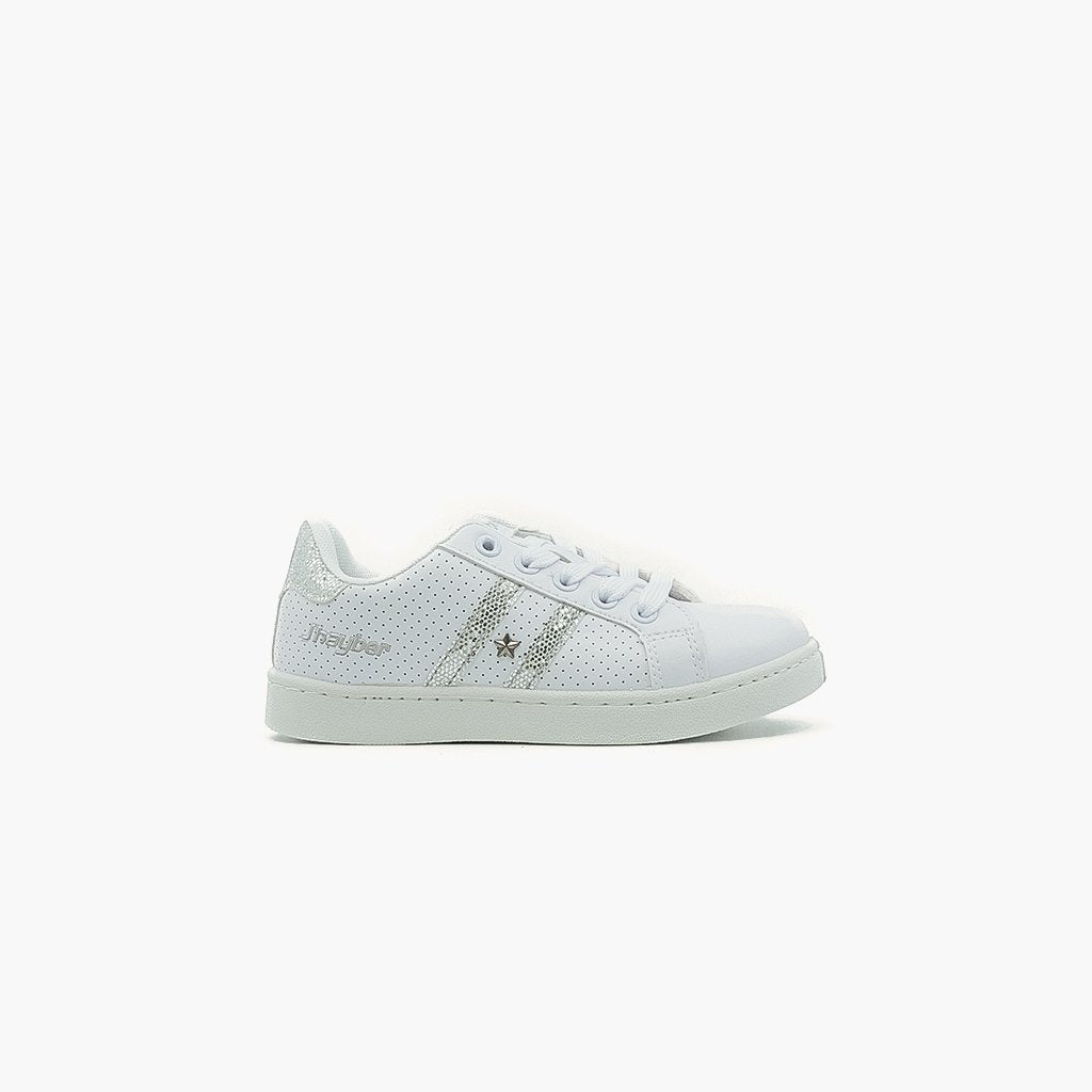 Esterllita White with SIlver Stripes Sneakers - MyJooti