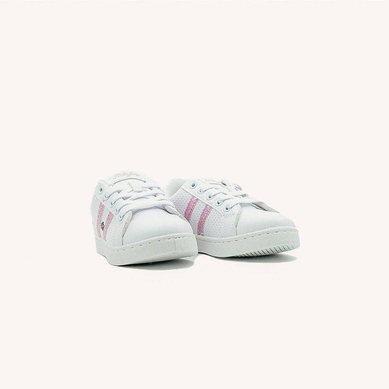 Esterllita White with Pink Stripes Sneakers - MyJooti