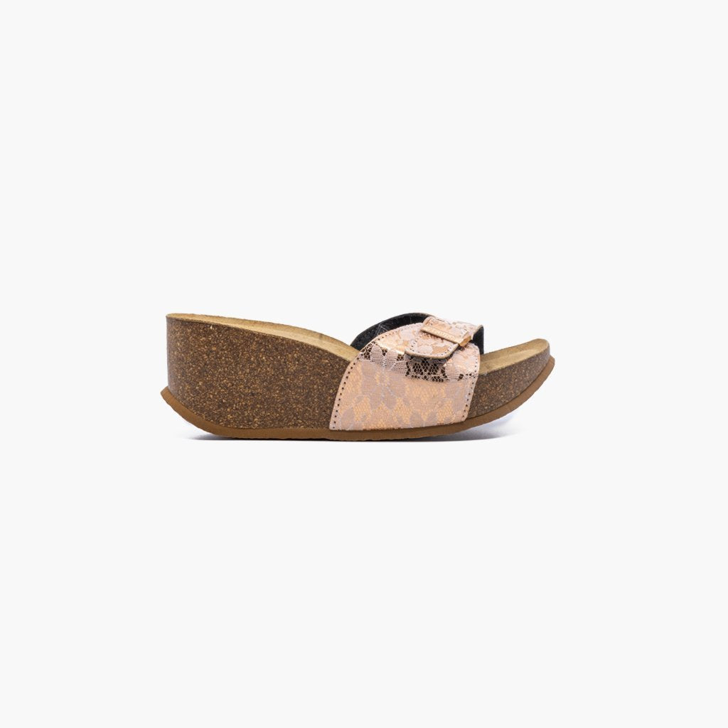 Sunset Blonda Nude Flower Pattern Sandals - MyJooti