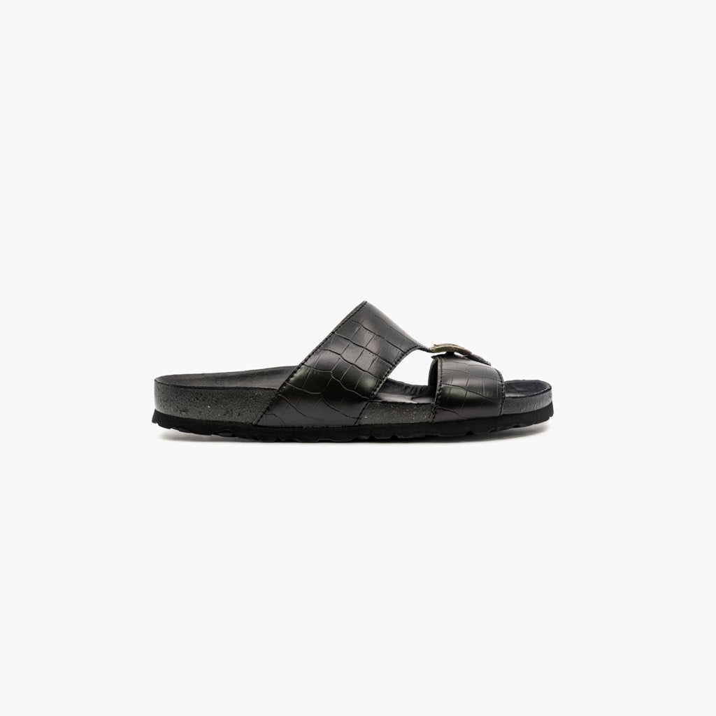 Duche Black Leather Sandals - MyJooti