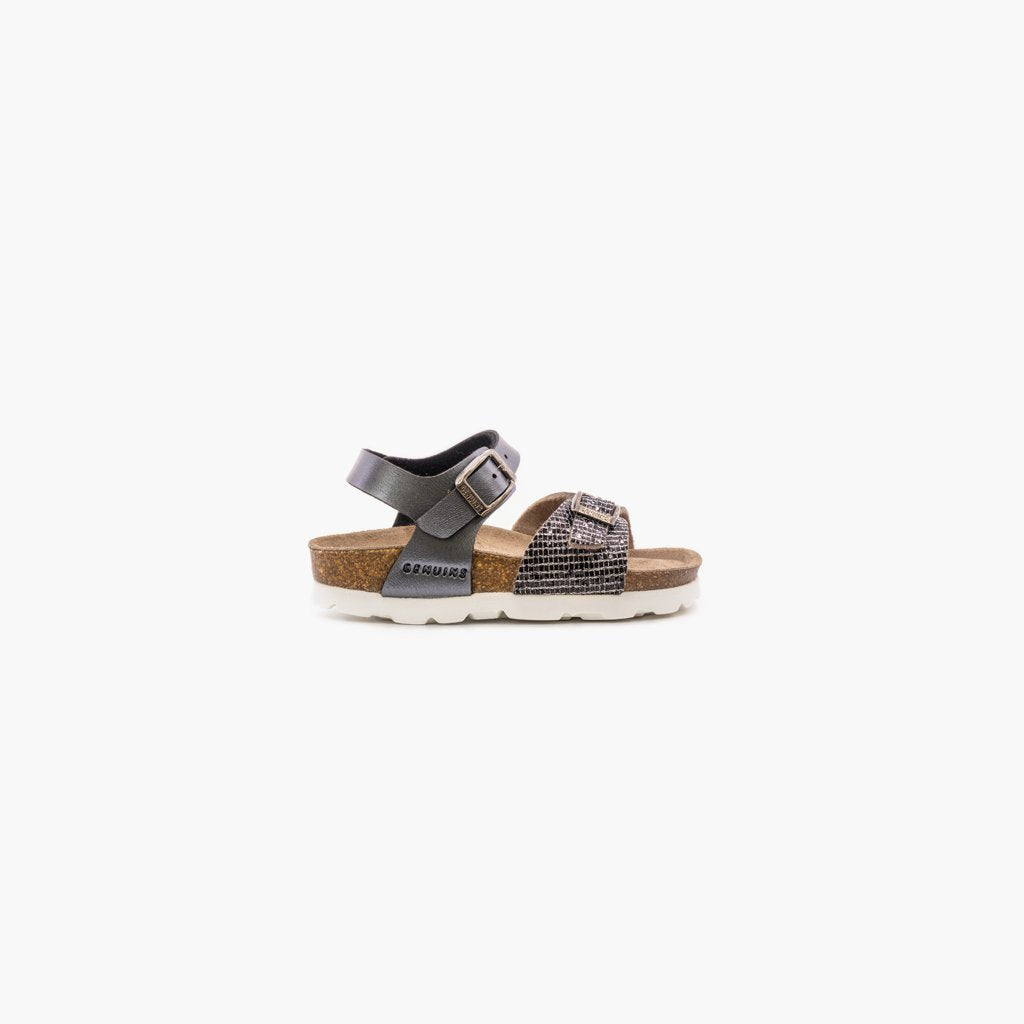 Kenia Metal Glittery Black Sandals - MyJooti