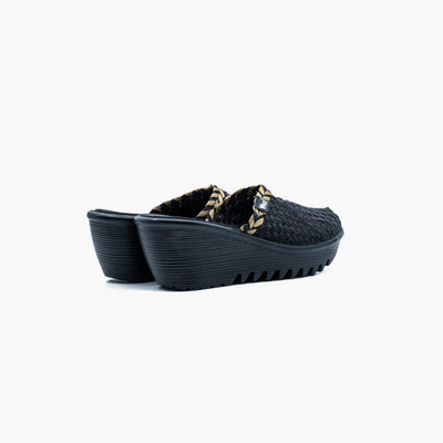 Milano Metallic Black Slip-On Wedge - MyJooti