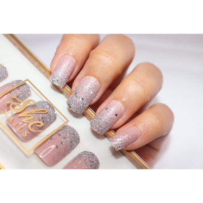 PRESS ON NAIL - GLITTERY NUDE