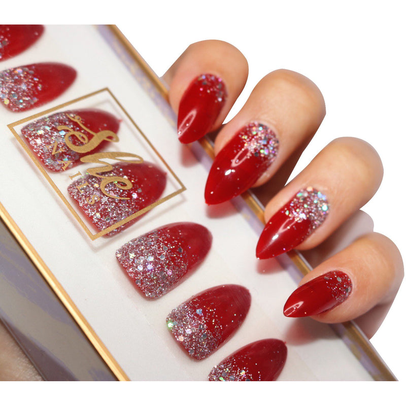 PRESS ON NAILS-GLITTERY RED
