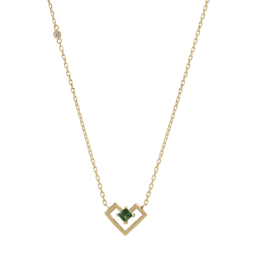 Heart Of Gold Necklace - Emerald