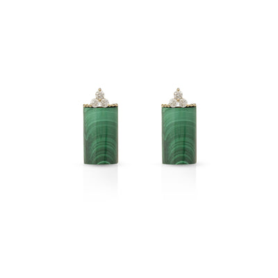 Malachite Earring with Diamonds Stone