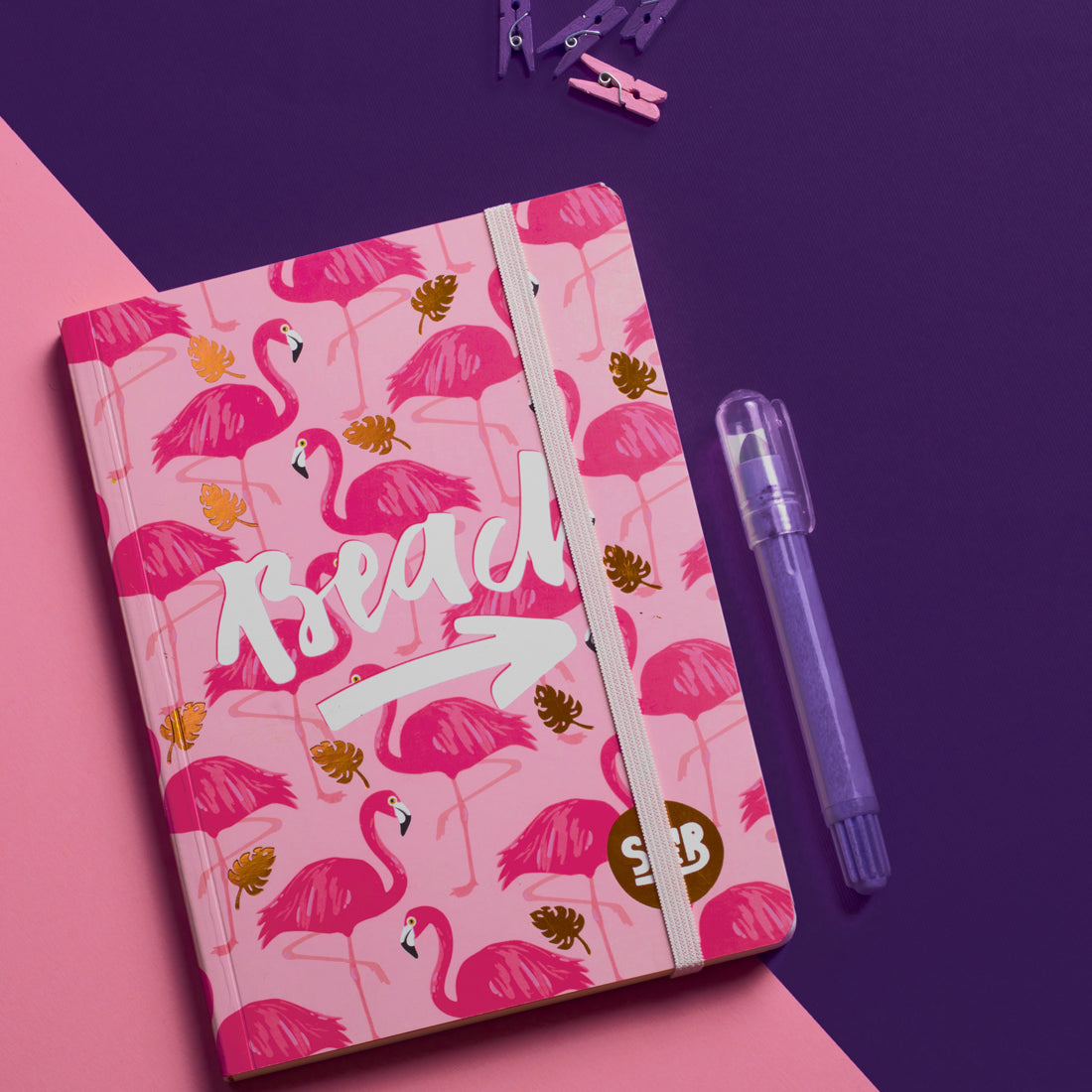 Flamingo  Notebook With Rubber Band A6 Size