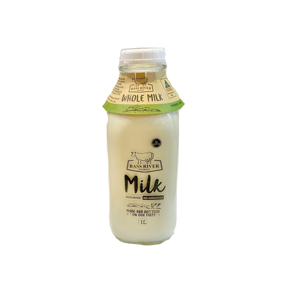 Full Cream Milk from Bass River Dairy - 1L Glass Bottle - babesfarmfreshproduce