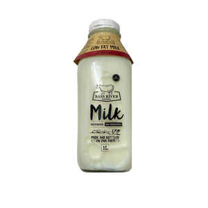 Low Fat Milk from Bass River Dairy - 1L Glass Bottle - babesfarmfreshproduce