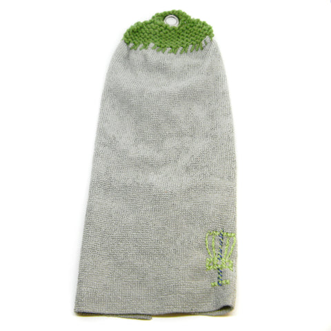 Microfiber Disc Golf towel with hand-knit top and metal grommet
