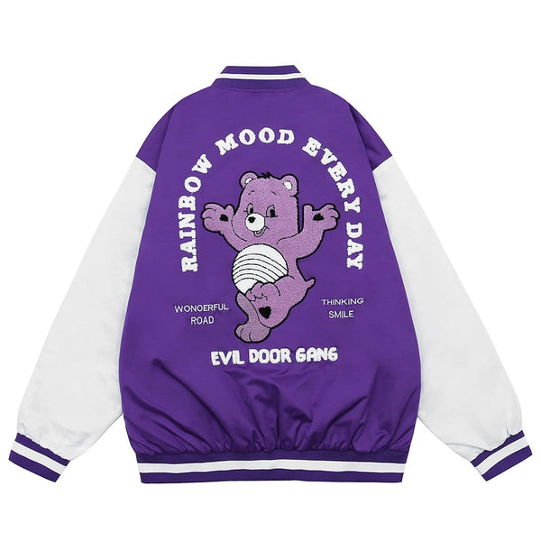 """Purple Stubborn Bear"" Varsity Jacket - Maener"