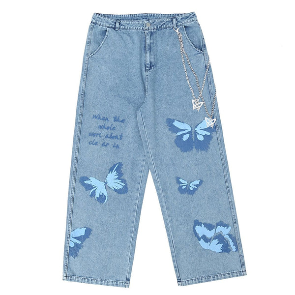 """Printed Butterfly Chain"" Jeans - Maener"