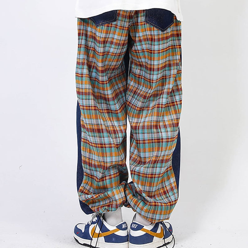 """Pure Color Combined with Lattice"" Joggers - Maener"