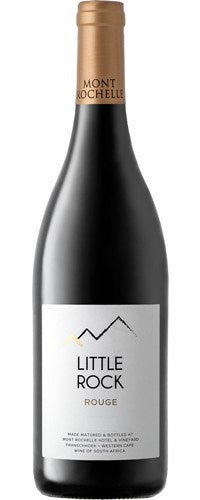 Franschhoek. Our Little Rock Rouge 2016 is a blended wine of mostly Cabernet Sauvignon and Merlot with dollops of Syrah and Petit Verdot all lending a helping hand to the final blend. Deep purple in colour, this wine abounds in vibrant red fruit aromas reminiscent of crushed cranberries and raspberries.
