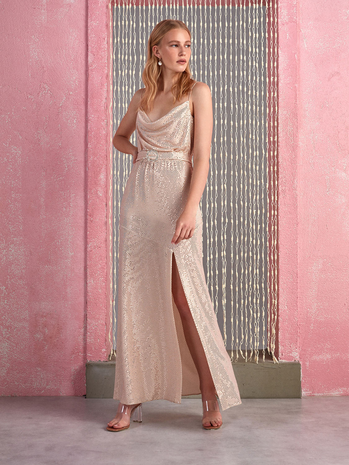 Sequined Draped Dress