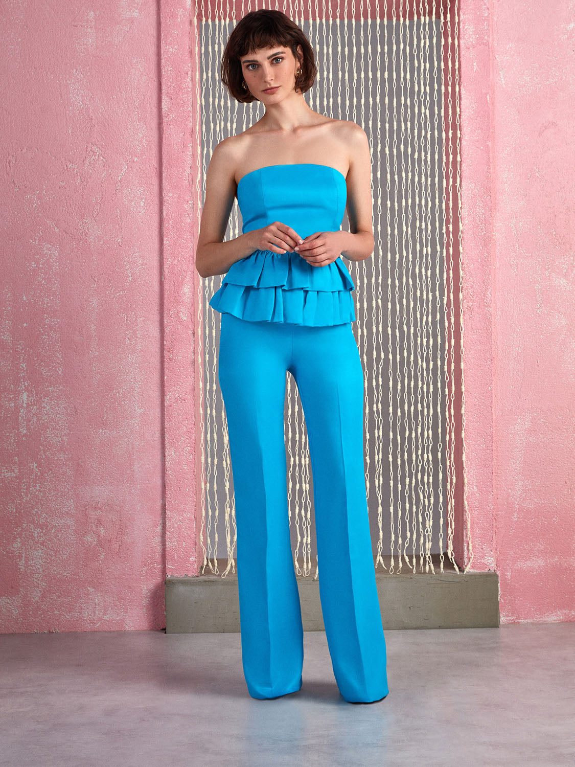Satin Effect Flared Pants